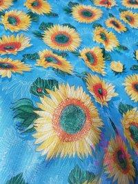 Beautiful Sunflower Design Malbari Silk Digital Print Fabric