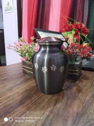 GREY MARBLE URN WITH SILVER PAWS FUNERAL SUPPLIES