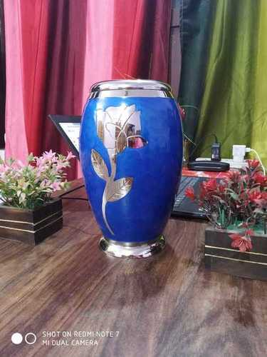 BLUE URN WITH GOLDEN FLORISH METAL URN FOR ASHES FUNERAL SUPPLIES