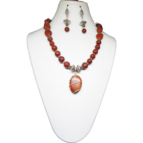 Gemstone Red Jasper Pendant Necklace
