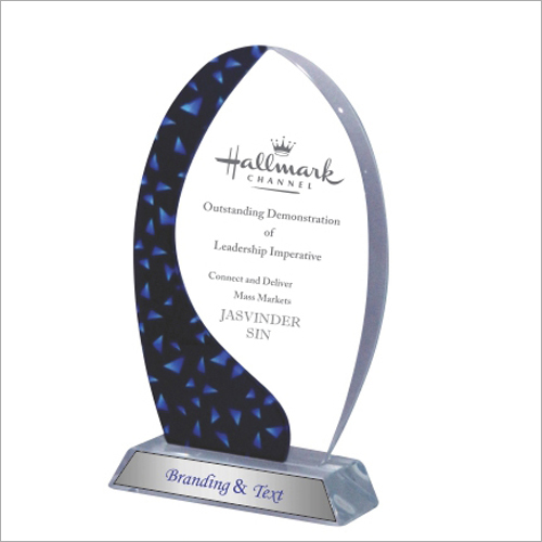 Blue Oval New Crystal Glass Trophy