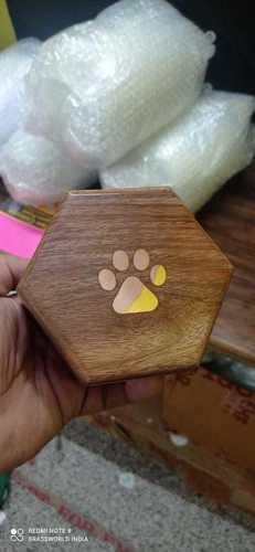 WOOD PET PAW ENGRAVED URN FUNERAL SUPPLIES