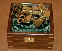 Vintage Brass Nautical Maritime Sextant Astrolab Ship Instrument with Wooden Box