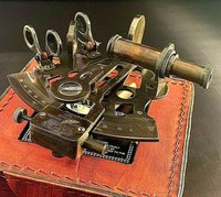 New Kelvin Hughes London 1917 Nautical Vintage Look Maritime Brass Nautical Sextant with Leather Case