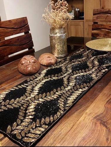 BEADED BLACK & GOLD TABLE RUNNER