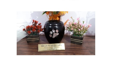 BRASS SHINING WITH PET PAW CREMATION URN FUNERAL SUPPLIES