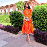Ladies Shades Of Orange With Gota Embroidery Rayon Dress