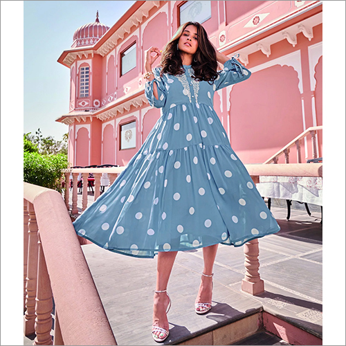 Ladies Blue Colored Polka Dot Dress