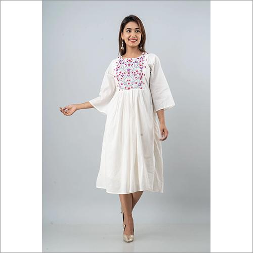Ladies White Cotton Cambric Short Mid Length Dress