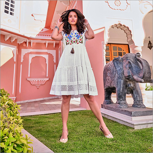 Ladies Cotton Stiffly Short Dress With Embroidered Neck And Cutwork