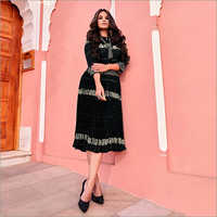 Ladies Short Embroidered Pleated Dress