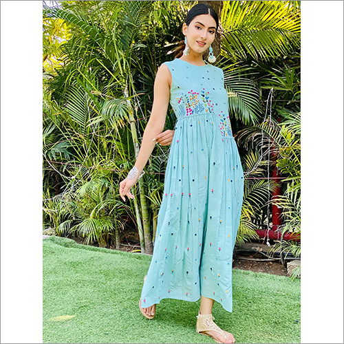 Ladies Long Gher Sleeveless Dress With Unique Flower Print