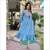 Ladies Blue Cotton Dress With Embroided Neck
