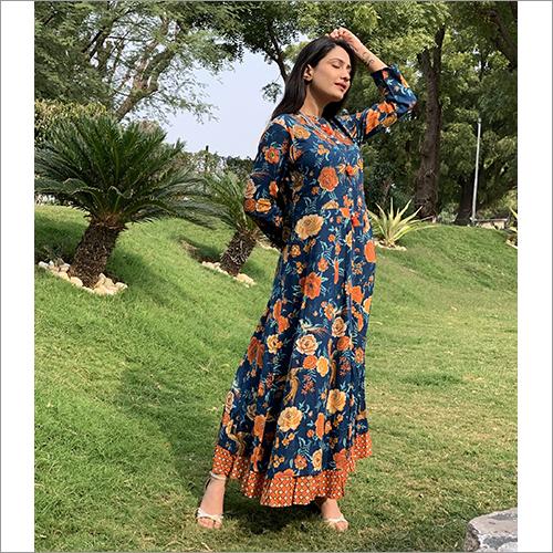 Ladies Rayon Stapal Long Dress