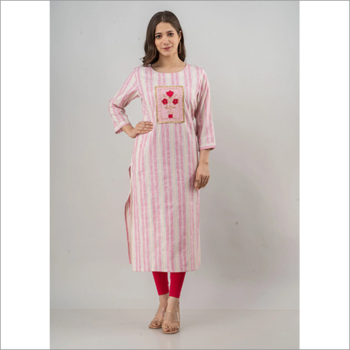 Ladies Cotton Floral Embroidered Kurti