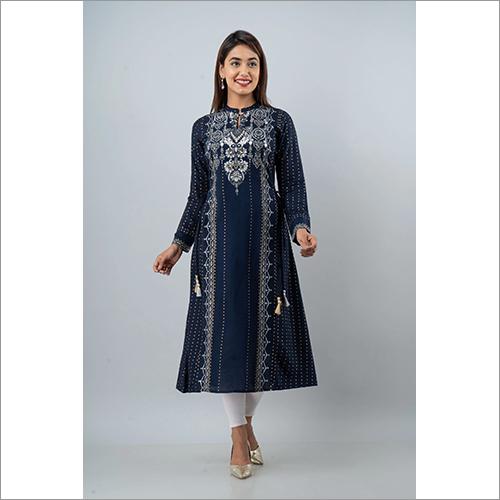 Ladies Rayon Staple Embroidered Blue Kurti