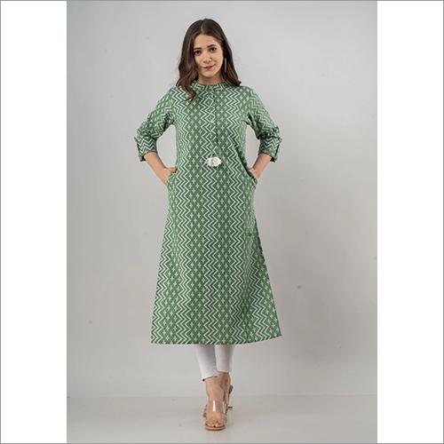 Ladies Green Colour Flex Cotton Kurti