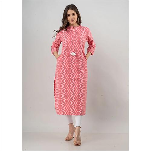 Ladies Pink Colour Flex Cotton Kurti