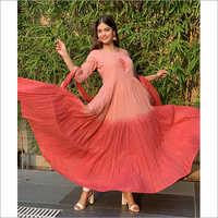 Ladies Cotton Long Dress With Dupatta