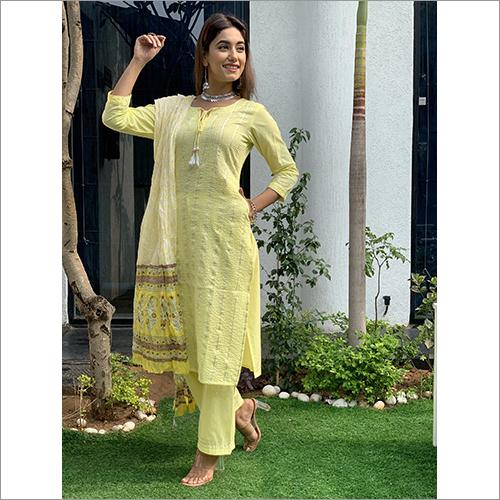 Ladies Green Cotton Cambric Coordinated Set