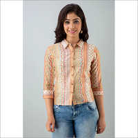 Ladies Floral Embroidered Design Shirt