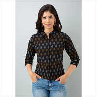 Ladies Black Shirt With White And Brown Pattern