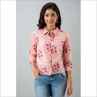 Ladies Pink Cotton Shirt With Floral Print