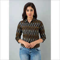 Ladies Black Cotton Shirt With Ziz Zac Pattern