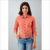 Ladies Red Cotton Short Shirt
