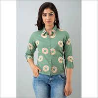 Ladies Green Cotton Shirt With Flower Patterns