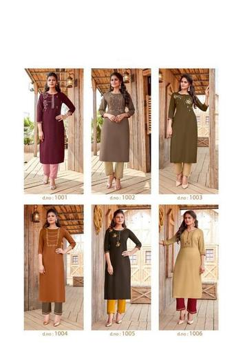 14 kg Heavy Rayon Kurti with Bottom (embroidery work)