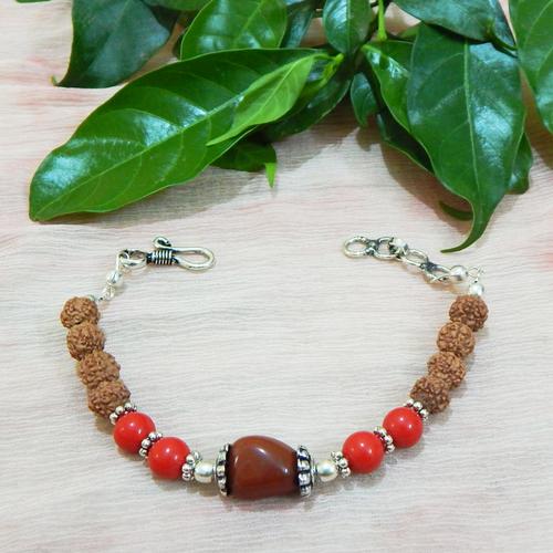 Gemstone Red Jasper & Coral & Rudraksha Beads Bracelet
