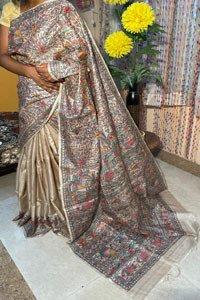 Madhubani hand painted pure tussar silk saree .