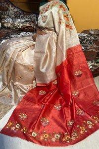 Pure tussar silk machine embroidered saree.