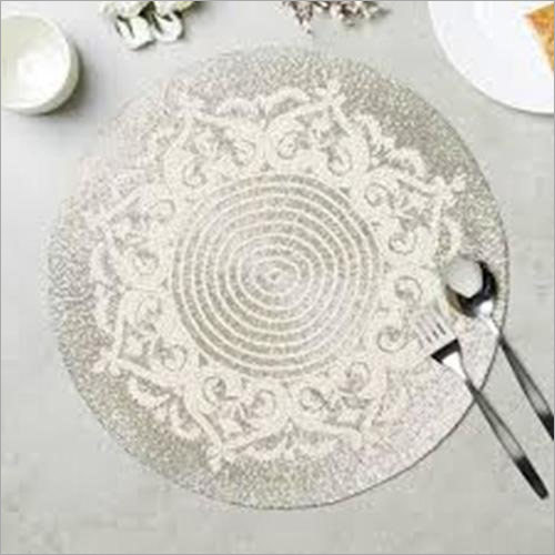 BEADED ROUND SILVER PLACEMAT