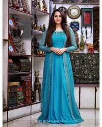 DESIGNER PARTY WEAR KOTI WITH GOWN CHINESTITCH WORK