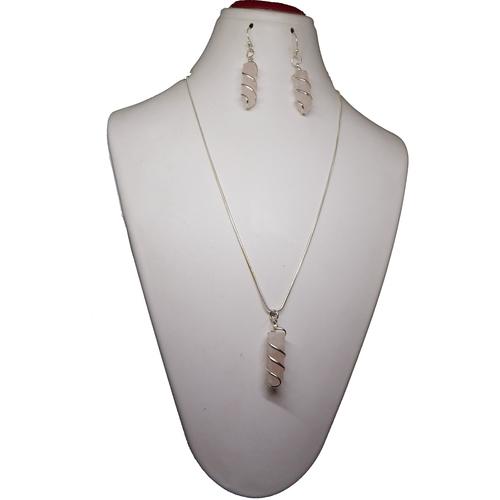 Gemstone Rose Quartz Pencil Cut Pendant Necklace