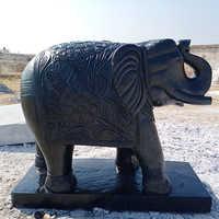 Black Elephant Marble Statue