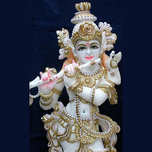 White Marble Goddess Krishna Moorti