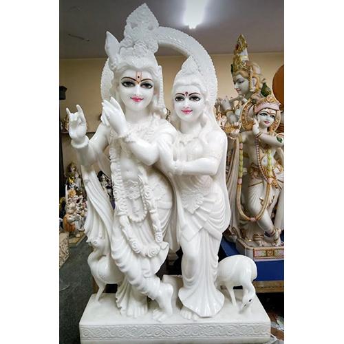 Lord White Marble Radha Krishna Statue
