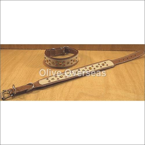 Stylish Beige Leather Dog Collar