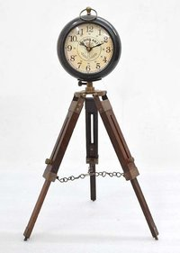 Brass Table Clock With Tripod
