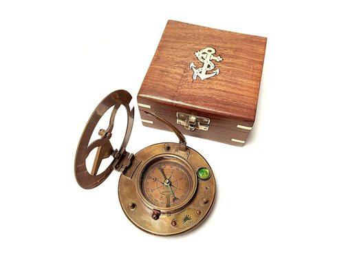 Antique brass Sundial compass 4