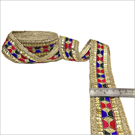Gota Patti Lace With Sequence Embroidery On Tissue Fabric With Thread Work