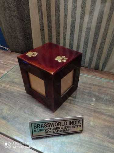 WOOD RED PHOTOFRAME WITH TWO GOLDEN PAW PET URN FUNERAL SUPPLIES