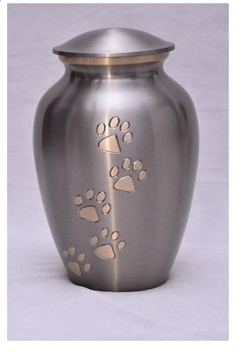 Shining Anthrecite Grey Golden Pet Paw Urn Funeral Supplies