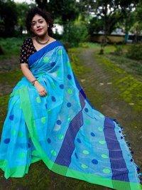 Khaadii buti Multicolored weaving work saree