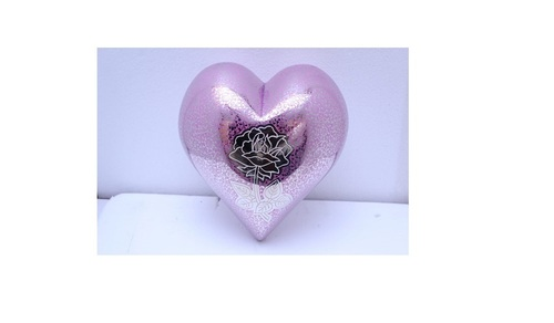Purple Heart With Beautiful Flower Engraved Funeral Supplies