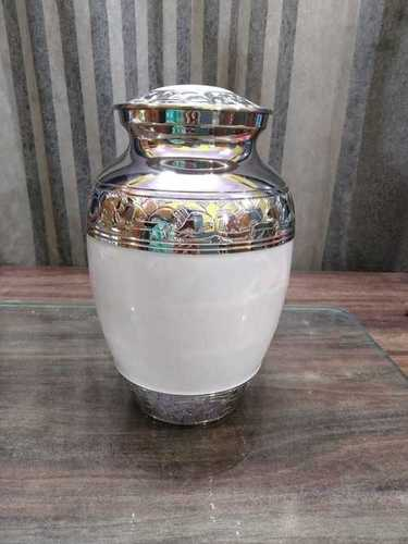 ALUMINIUM WHITE CRTEMATION URN FOR HUMAN ASHES IN HANDICRAFTED FUNERAL MEMORIAL URN