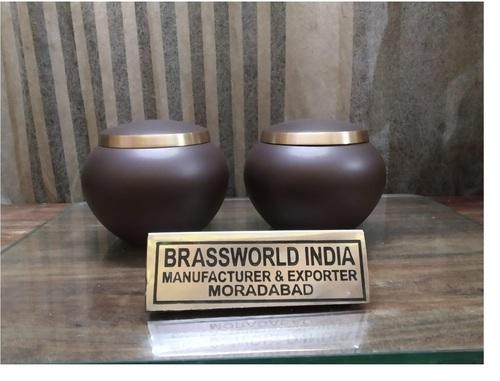 Brass Heart White Texture Adult Urn Funeral Supplies